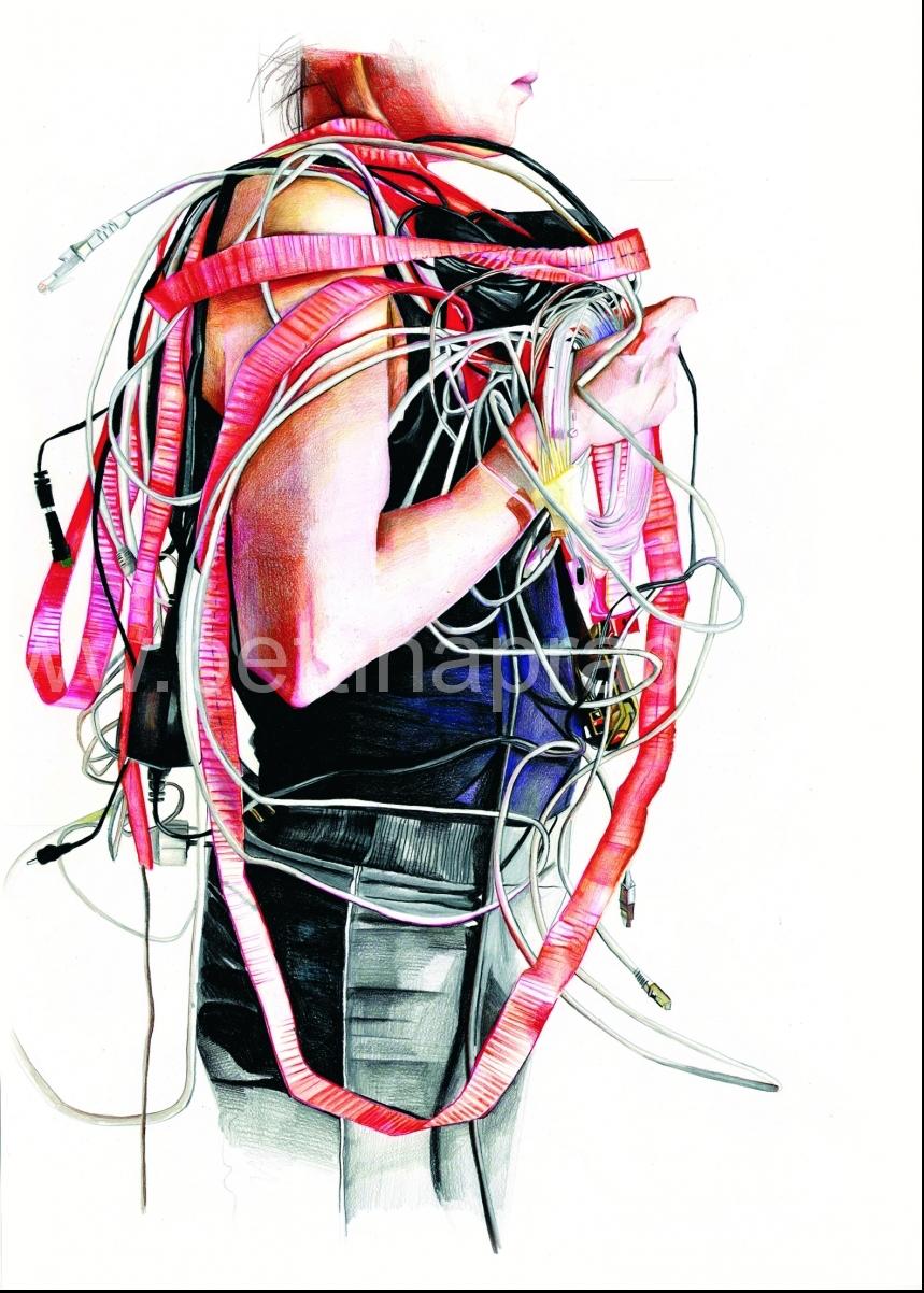 mittragen I, 2016, 70 x 50 cm, Buntstift auf Papier