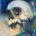 Lone Dark (2), 2018, Öl und Sprühfarbe auf Leinwand, 120 x 150 cm